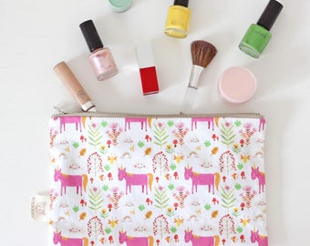 Makeup Bag Stationery Bag Pencil Bag Unicorn Design Zipper Pouch