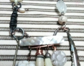 IndigoMoon necklace, found object, wasteland, mad max, gypsy, boho