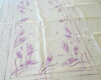 Purple Wheat Embroidered Tablecloth / Vintage Cotton Tablecloth / Hand Embroidered / Lilac / Lavender / Thick Cotton / Fluffy / Keepsake