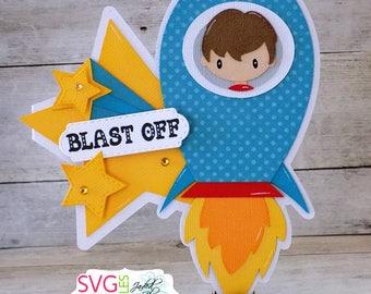 Blast Off Rocket Shaped Card, Boy, Birthday