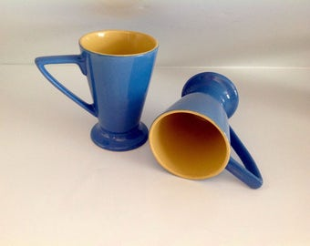 Pair of Ceramic Coffee or Latte Mugs, Blue and Yellow Mugs, Tall Coffee or Latte Cups