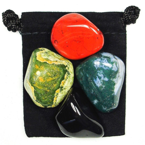 INNER STRENGTH Tumbled Crystal Healing Set - 4 Gemstones w/Description & Pouch - Black Onyx, Jasper, Moss Agate, and Rhyolite