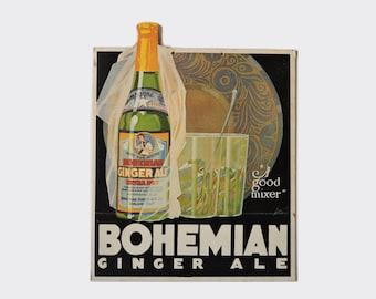 Vintage 1920s Bohemian Ginger Ale Soda Die-Cut Cardboard Advertising Sign - Oakland, California