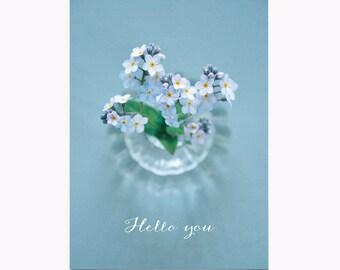 Postcard • Hello you • Myosotis • Forget me not