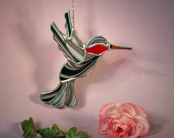 Suncatcher Stained Glass Hummingbird with Ruby Throat  (789)