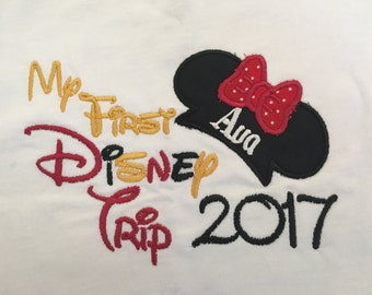 Minnie Ears My First Disney Trip Short Sleeve Appliqued Tshirt - Infant/Toddler Size Tshirt - 6 months to 5/6