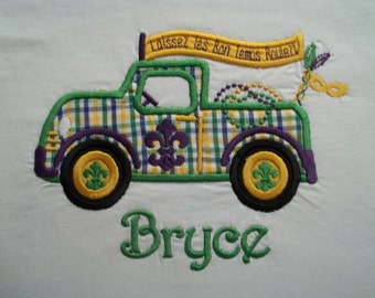 Mardi Gras Truck - Short Sleeve Appliqued Tshirt - Infant and Toddler Size Tshirt - 6 months to 5/6