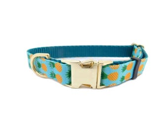 Pineapple Dog Collar, Personalized Pet Collar, Blue