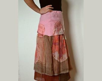 Women's skirt, hand-painted  silk of skirt, linen artsy skirt, gypsy skirt, boho skirt, recycled skirt, upcycled clothing, skirt size M