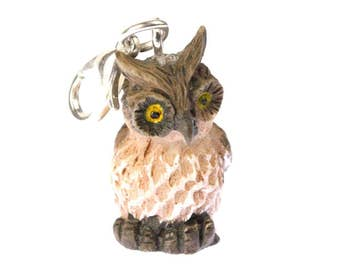 Owl Owls Charm for Bracelet Wristlet Dangle Miniblings owl Bird eagle owl brown L