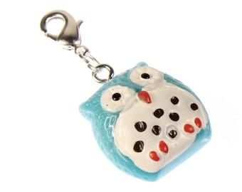 Owl Owls Charm for Bracelet Wristlet Dangle Miniblings Bird owl blue white belly