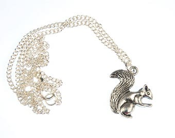 Squirrels Necklace Miniblings 45cm spring gray squirrel forest silver