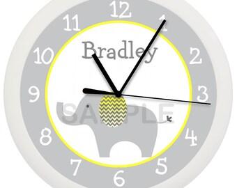 Gray Yellow and White Mod Elephant Nursery Wall Clock Personalized 10 Inch CHEVRON