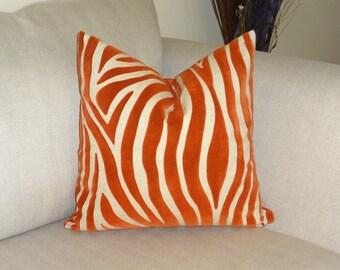 NEW Burnt Orange Flocked Tiger Print Pillow Cover Dark Orange Animal Print Pillow Cover 18x18