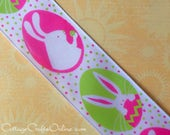 """Easter Wired Ribbon, 1 1/2"""" Pink and Green Egg Print with Bunnies, THREE YARDS, Offray """"Lynette"""" Spring Easter Bunny Rabbit Ribbon"""