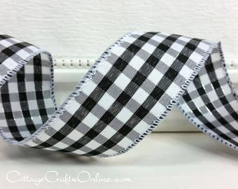 "Wired Ribbon, 1 1/2"", Black White Silver Metallic Gingham Check - SIX YARDS - Offray, ""Addison"" #705115 Plaid Wire Edged Ribbon"