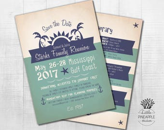 Retro Beach Family Reunion Invite with Itinerary DIY Printable