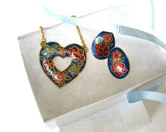 1970's Cloisonne Necklace and Earring Set, Heart Pendant, Post Earrings, Asian, Floral, Flowers, Gift Idea, Excellent