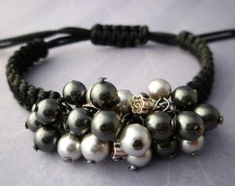Swarovski Pearl Beaded Macrame Bracelet - Adjustable Pearl Bracelet