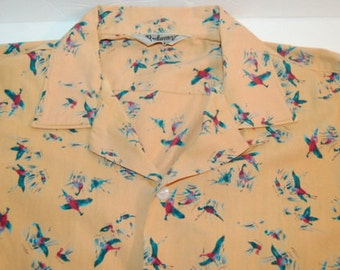 Vintage 50s Pheasant Hunting Novelty Men's Shirt Piedmont Made In Canada Cotton