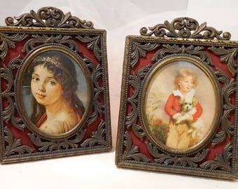 Vintage Brass Cameo Decor, Italian, Renaissance, Revival Brass Portraits, Italian Brass Frames, 60s Renaissance Decor, Boy Girl Dog Cameos