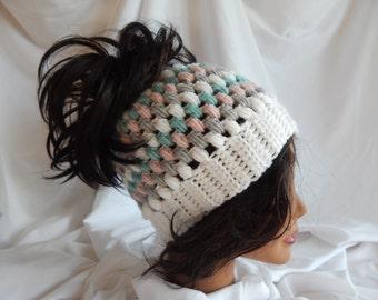 Messy Bun Hat Pony Tail Hat - Crochet Woman's Fashion Hat - Gray, Mauve, Green