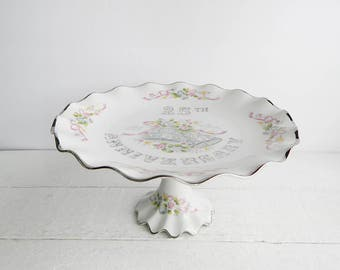 Vintage Lefton 25th Wedding Anniversary Cake Stand - Wedding Decor