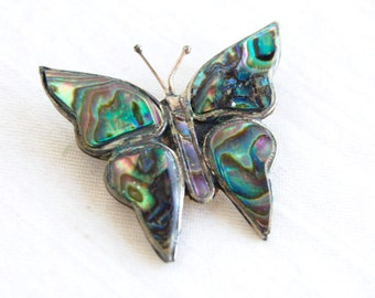 Abalone Butterfly Brooch Pin Vintage Mexican Alpaca Jewelry Gift Under 10