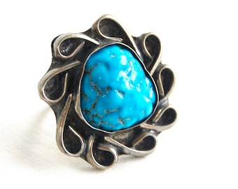 Chunky Turquoise Ring Size 8 .75 Vintage Large Southwestern Unisex Jewelry Large Statement Cocktail Ring