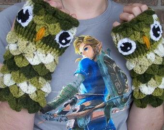 OWL Fingerless Gloves, Owl Face Fingerless Mitts--Hand Crocheted in Crocodile Stitch