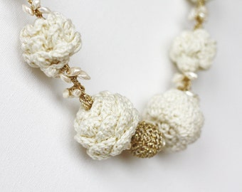 Pinecone necklace ivory gold tone White pinecones Gift for her Mother's day gift Statement jewelry Chunky crochet necklace Boho chic Spring