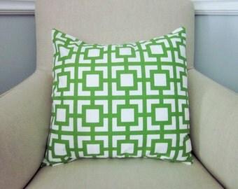 Green Geometric Pillow Cover, Premier Printd Gigi Kelly Green, Green on White, Various Sizes