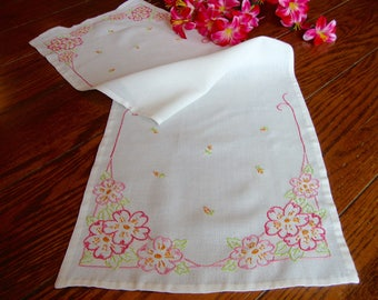 Embroidered Dresser Scarf Pink Floral Embroidery Vintage Table Runner