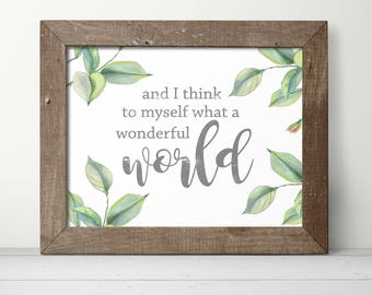 Gallery Wall Decor - And I Think To Myself What A Wonderful World - Green Art - Living Room Wall Art - Bedroom Wall Art -Inspirational Gifts