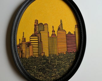 "Original Framed Sharpie Drawing ""City Rising From The Garbage"" Cityscape Detailed Drawing"
