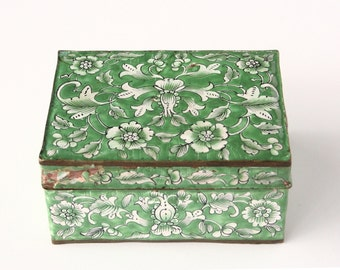 Vintage Asian enamel box, green and white enamel trinket box, Chippy, As Is