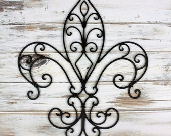 Fleur De Lis Wall Decor - French Shabby Chic - Metal Wall Decor - French Decor Style - Front Porch Decor, Cast Iron Decor, New Orleans Style