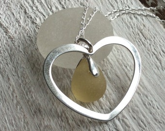 Sea Glass Sterling Silver Heart Necklace Mothers Day Card
