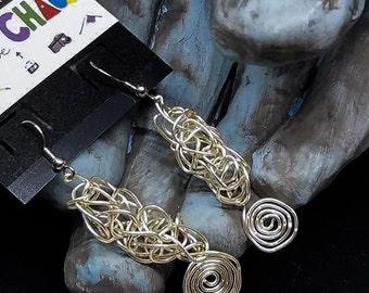 OOAK - Silver Plated Wire Crochet Earrings with Swirl Accent - Minimalist Jewelry