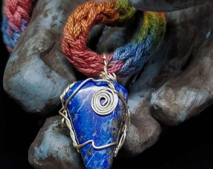 Featured listing image: OOAK Lapis Lazuli Arrow Silver Wire Wrapped on Extra Soft Rainbow Pattern Necklace Made with Crocheted Peruvian Yarn