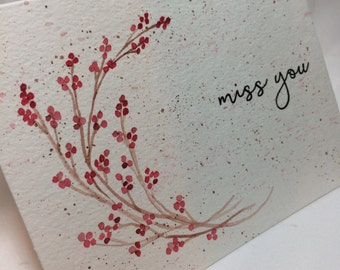 OOAK Winter Berry Miss You Greeting Card