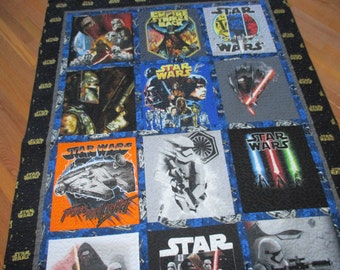 Star Wars and Empire Strikes Back t-shirt quilt handmade