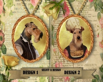 Airedale Terrier Jewelry Pendant - Brooch Handcrafted Porcelain- Dog Jewellery by Nobility Dogs