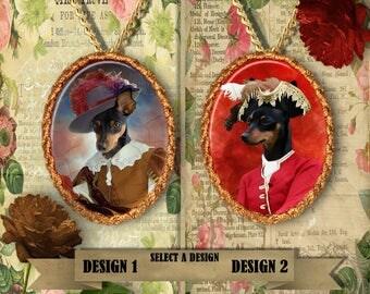 Miniature Pinscher Jewelry. Min Pin Pendant or Brooch. Min Pin Necklace. Miniature Pinscher  Portrait. Custom Dog Jewelry.Handmade Jewelry