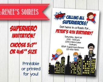 SUPERHERO Birthday Invitation - Printable Super Hero Invite - Customizable DIY party