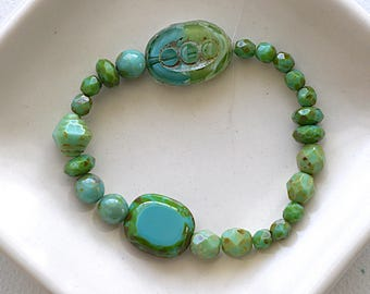 Picasso Czech Green Turquoise Glass Bead Mix - Assorted Shapes, Sizes And Color Shade - 25 Beads