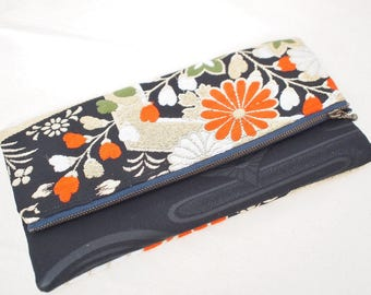 Vintage kimono obi fold over clutch bag purse -chrysanthemum, floral pattern, black, gold, white