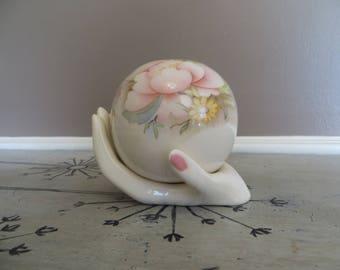 Vintage Dyer Ceramic Pottery Orb Vase on top of a Hand Lady Head Vase Rose Vase Bud Vase Pottery Vase Pink and Blue
