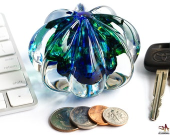 Handcrafted Glass Paperweight - Ribbed Clear Crystal with Blue and Green Core