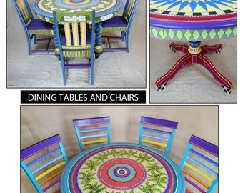 Hand Painted Furniture, Custom Hand Painted Furniture, Colorful Hand Painted Furniture, Hand Painted Table, Hand Painted Dining Table